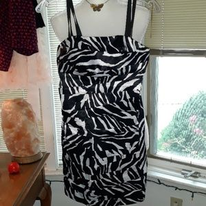 Snap zebra patterned dress with built in bra cups